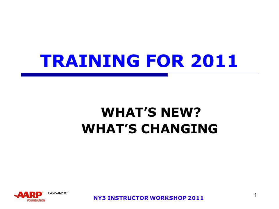 NY 3 INSTRUCTOR WORKSHOP 2011 2 OBJECTIVES  WHAT'S NEW  STDS OF CONDUCT  TAX LAW – FEDERAL & NEW YORK  WHAT'S CHANGING  SCOPE  CERTIFICATION  ALTERNATE TRAINING  NY3 TRAINING PLAN