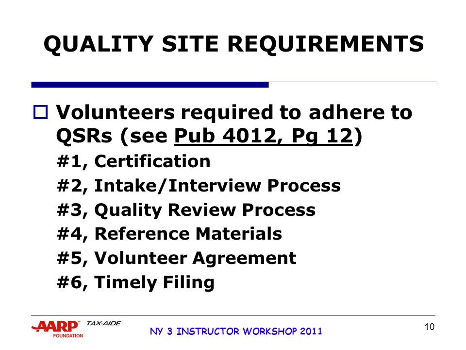 NY 3 INSTRUCTOR WORKSHOP 2011 10 QUALITY SITE REQUIREMENTS  Volunteers required to adhere to QSRs (see Pub 4012, Pg 12) #1, Certification #2, Intake/Interview Process #3, Quality Review Process #4, Reference Materials #5, Volunteer Agreement #6, Timely Filing