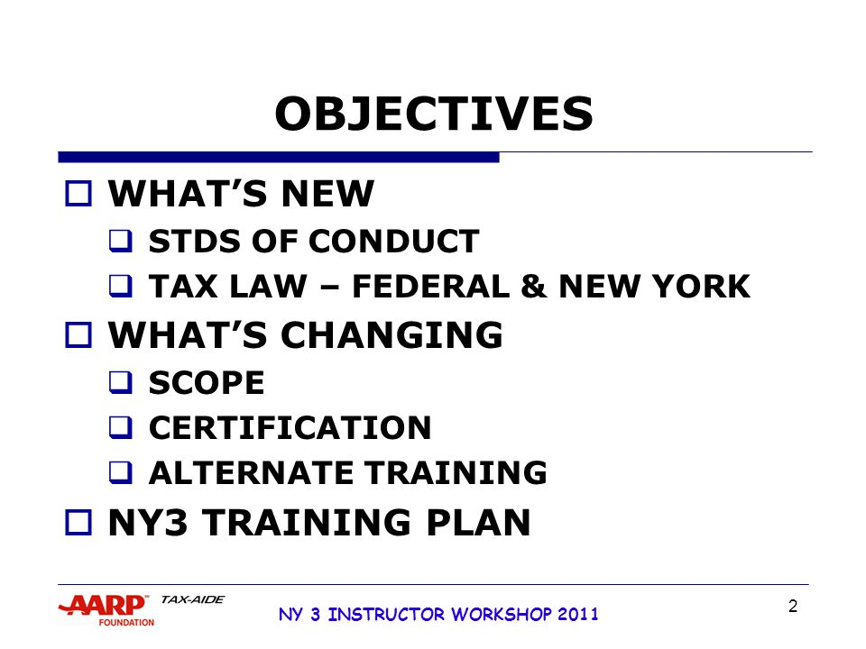 NY 3 INSTRUCTOR WORKSHOP 2011 63 NEW VOLUNTEERS  36 HOURS CLASSROOM TRAINING  PROCESS BASED TRAINING  TAX LAW  INTERVIEW SKILLS  TAXWISE SOFTWARE  RETURN PREPARATION  QUALITY REVIEW  CLIENT REVIEW