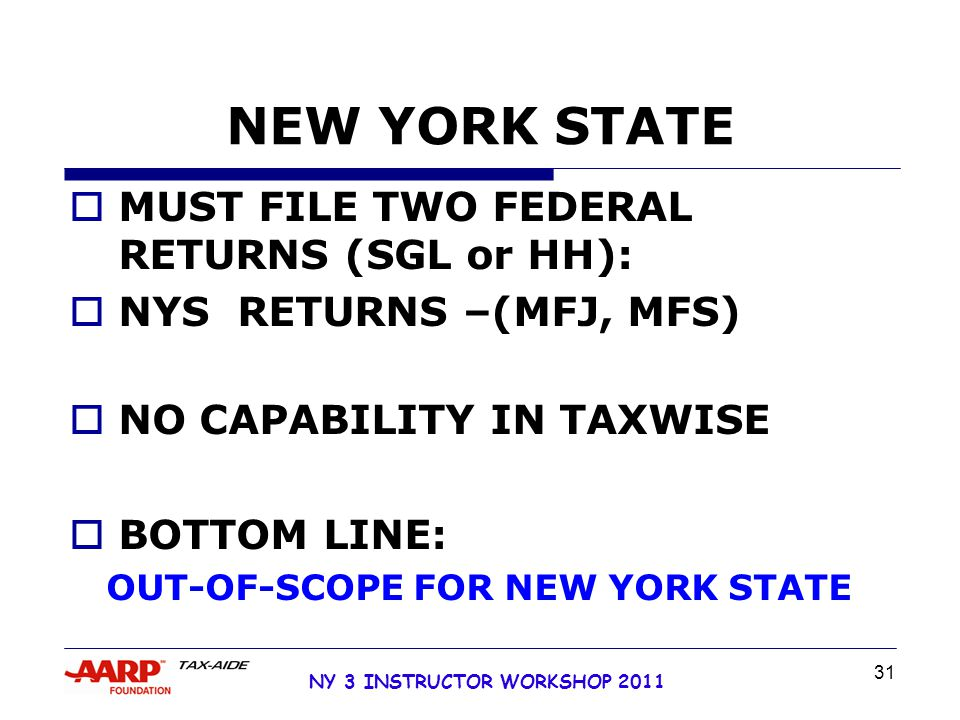 NY 3 INSTRUCTOR WORKSHOP 2011 31 NEW YORK STATE  MUST FILE TWO FEDERAL RETURNS (SGL or HH):  NYS RETURNS –(MFJ, MFS)  NO CAPABILITY IN TAXWISE  BOTTOM LINE: OUT-OF-SCOPE FOR NEW YORK STATE