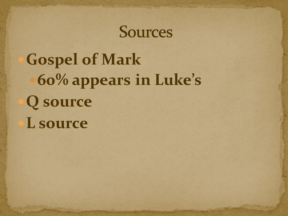 Gospel of Mark 60% appears in Luke's Q source L source