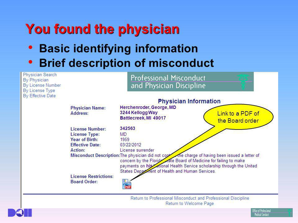 Basic identifying information Brief description of misconduct Link to a PDF of the Board order