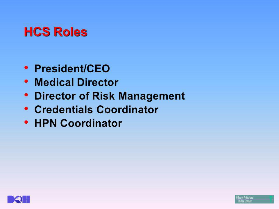 HCS Roles President/CEO Medical Director Director of Risk Management Credentials Coordinator HPN Coordinator