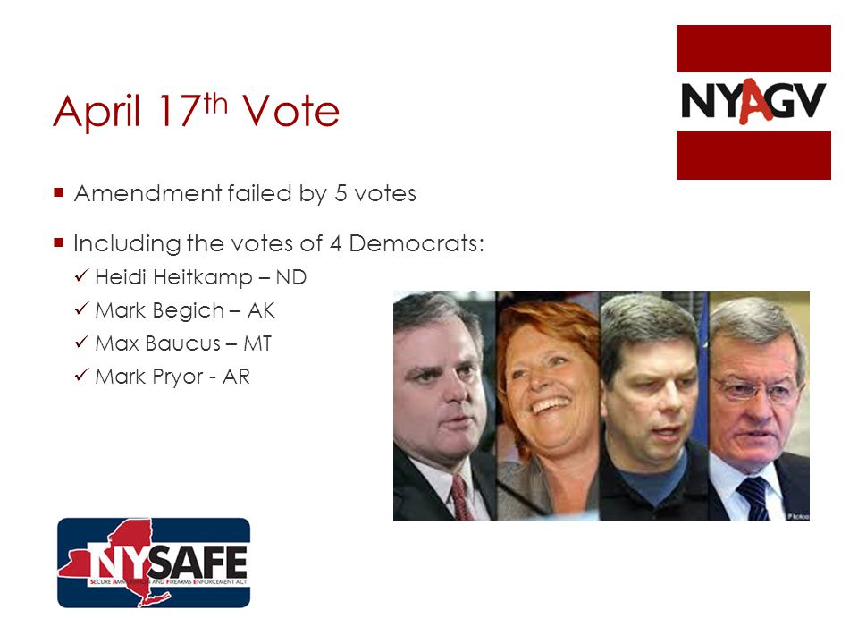 April 17 th Vote  Amendment failed by 5 votes  Including the votes of 4 Democrats: Heidi Heitkamp – ND Mark Begich – AK Max Baucus – MT Mark Pryor - AR
