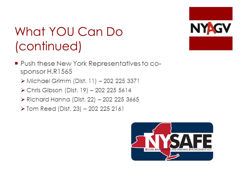 What YOU Can Do (continued)  Push these New York Representatives to co- sponsor H.R1565  Michael Grimm (Dist.