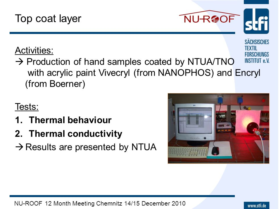 NU-ROOF 12 Month Meeting Chemnitz 14/15 December 2010 Top coat layer Activities:  Production of hand samples coated by NTUA/TNO with acrylic paint Vi