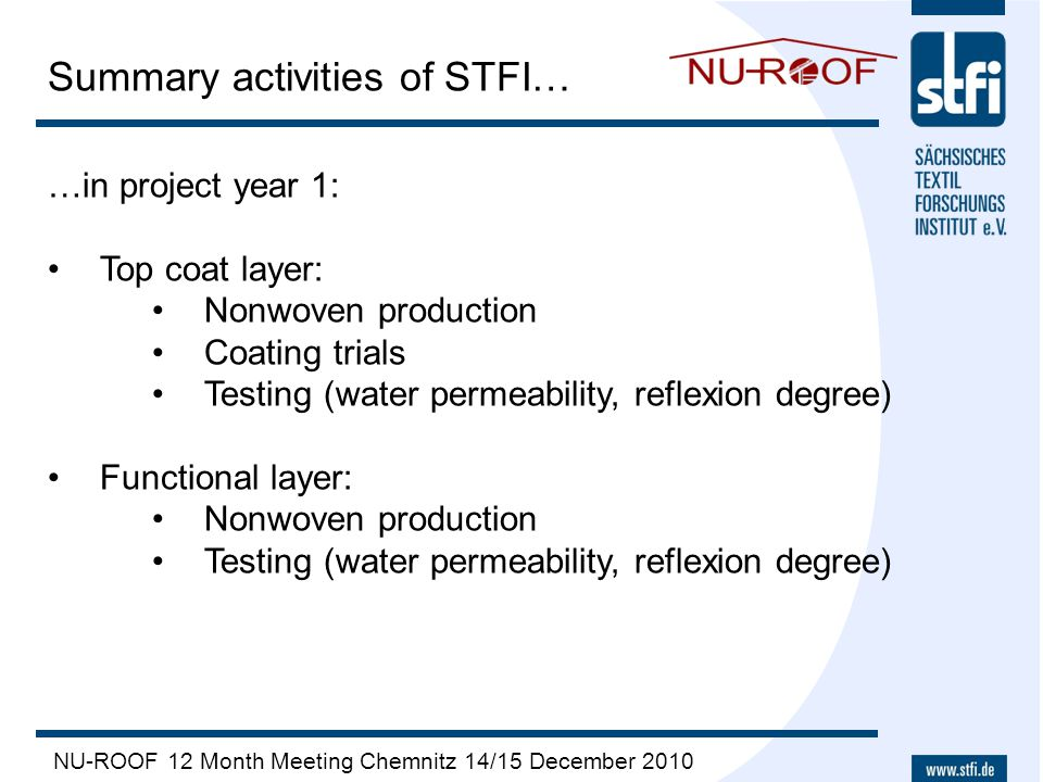 NU-ROOF 12 Month Meeting Chemnitz 14/15 December 2010 Summary activities of STFI… …in project year 1: Top coat layer: Nonwoven production Coating tria