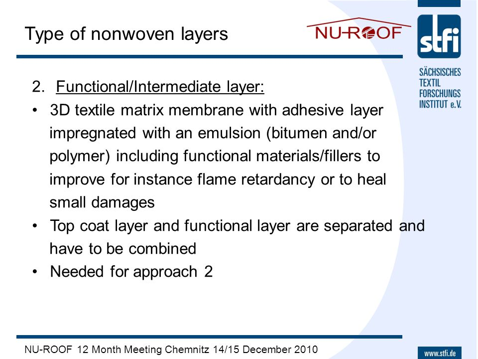 NU-ROOF 12 Month Meeting Chemnitz 14/15 December 2010 Type of nonwoven layers 2.Functional/Intermediate layer: 3D textile matrix membrane with adhesiv