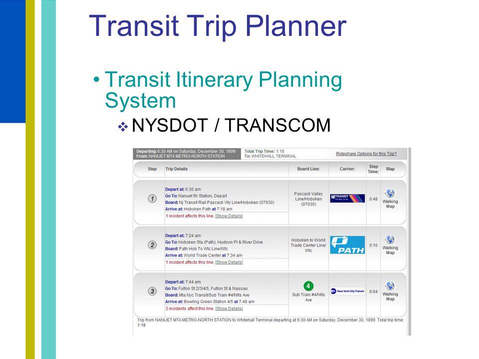 Transit Itinerary Planning System  NYSDOT / TRANSCOM Transit Trip Planner