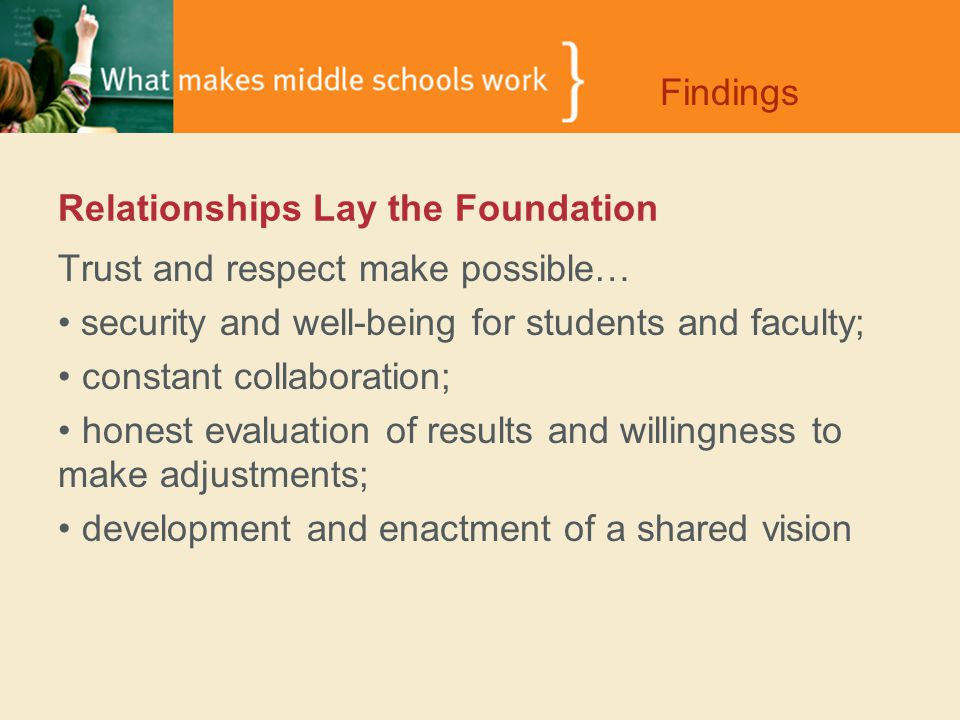 Relationships Lay the Foundation Trust and respect make possible… security and well-being for students and faculty; constant collaboration; honest evaluation of results and willingness to make adjustments; development and enactment of a shared vision Findings