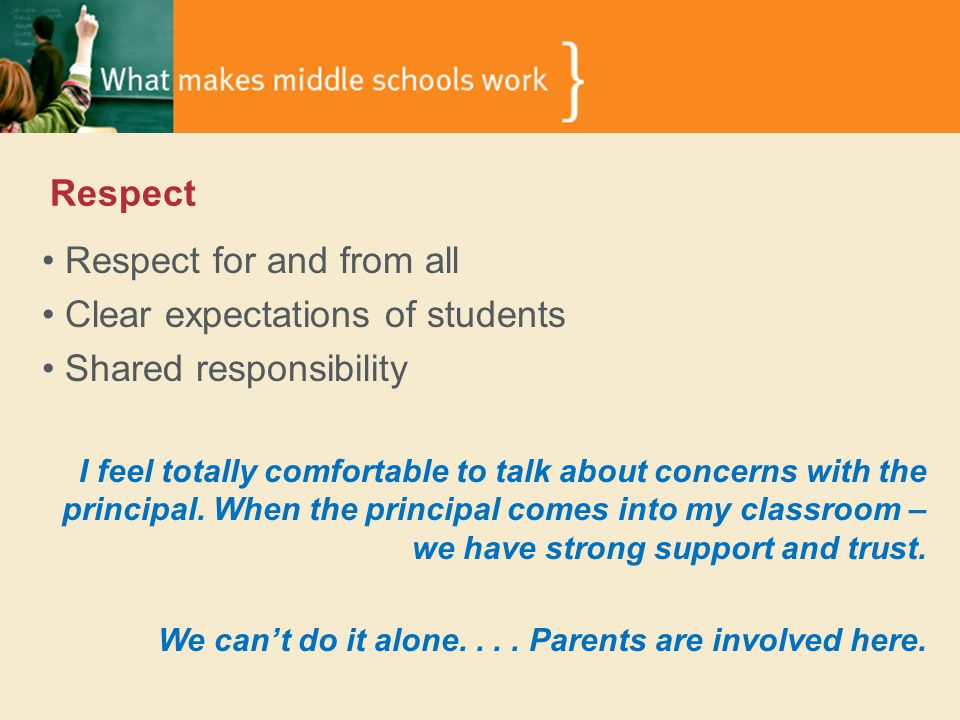 Respect Respect for and from all Clear expectations of students Shared responsibility I feel totally comfortable to talk about concerns with the principal.