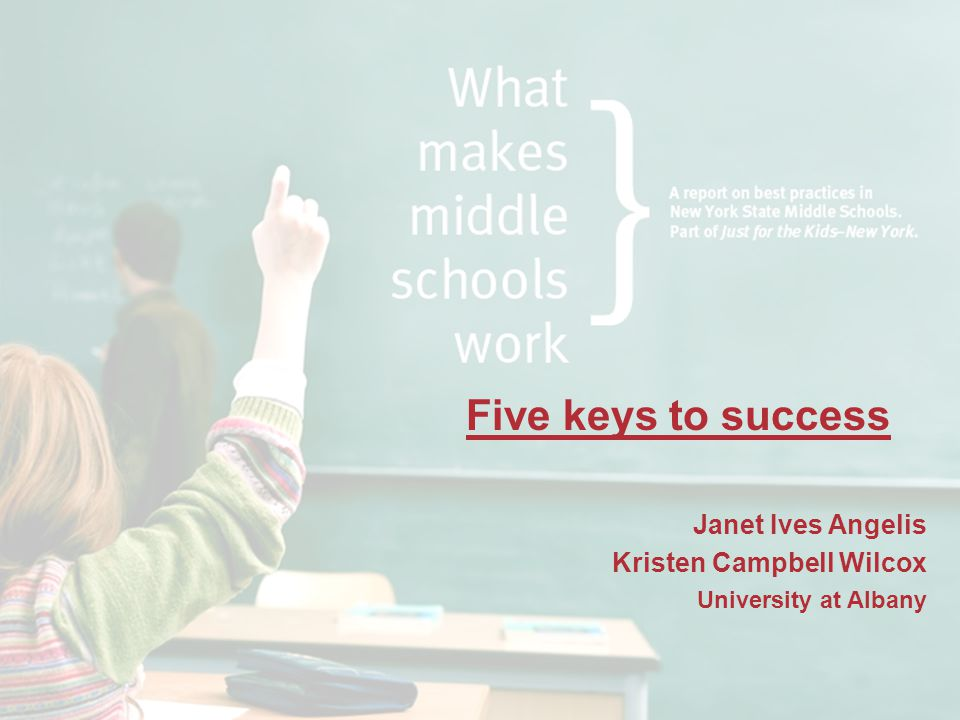 Five keys to success Janet Ives Angelis Kristen Campbell Wilcox University at Albany