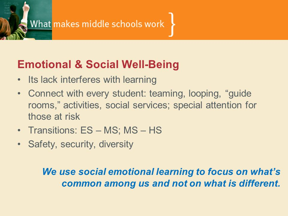 Emotional & Social Well-Being Its lack interferes with learning Connect with every student: teaming, looping, guide rooms, activities, social services; special attention for those at risk Transitions: ES – MS; MS – HS Safety, security, diversity We use social emotional learning to focus on what's common among us and not on what is different.