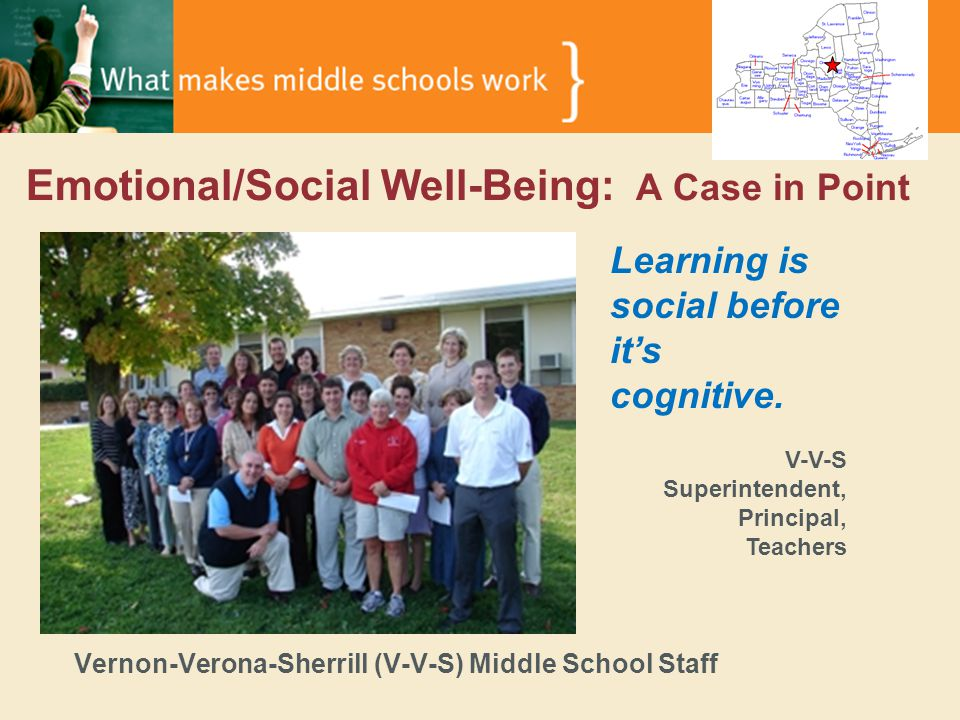 Emotional/Social Well-Being: A Case in Point Vernon-Verona-Sherrill (V-V-S) Middle School Staff Learning is social before it's cognitive.