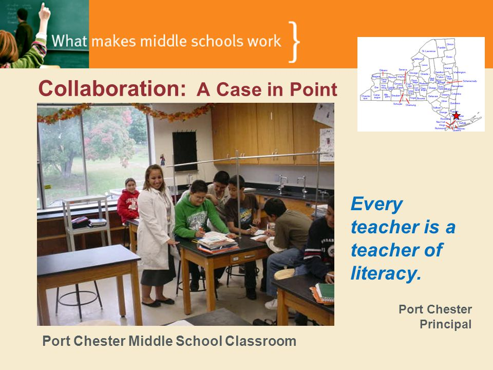 Collaboration: A Case in Point Port Chester Middle School Classroom Every teacher is a teacher of literacy.