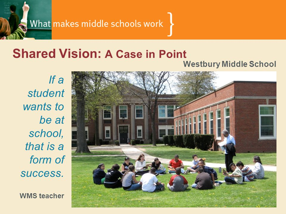 Shared Vision: A Case in Point Westbury Middle School If a student wants to be at school, that is a form of success.