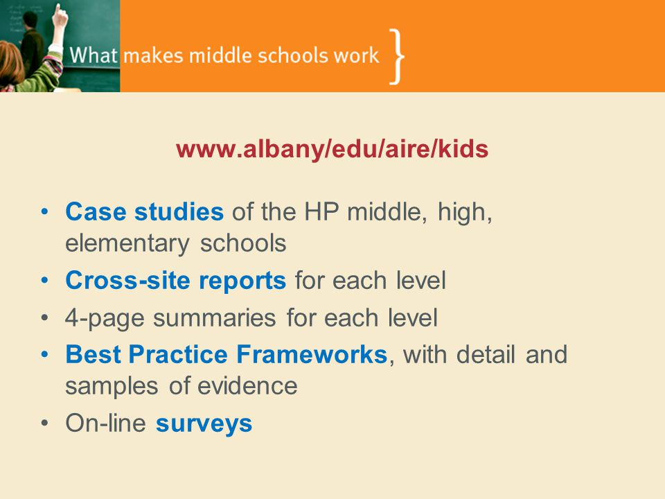 www.albany/edu/aire/kids Case studies of the HP middle, high, elementary schools Cross-site reports for each level 4-page summaries for each level Best Practice Frameworks, with detail and samples of evidence On-line surveys