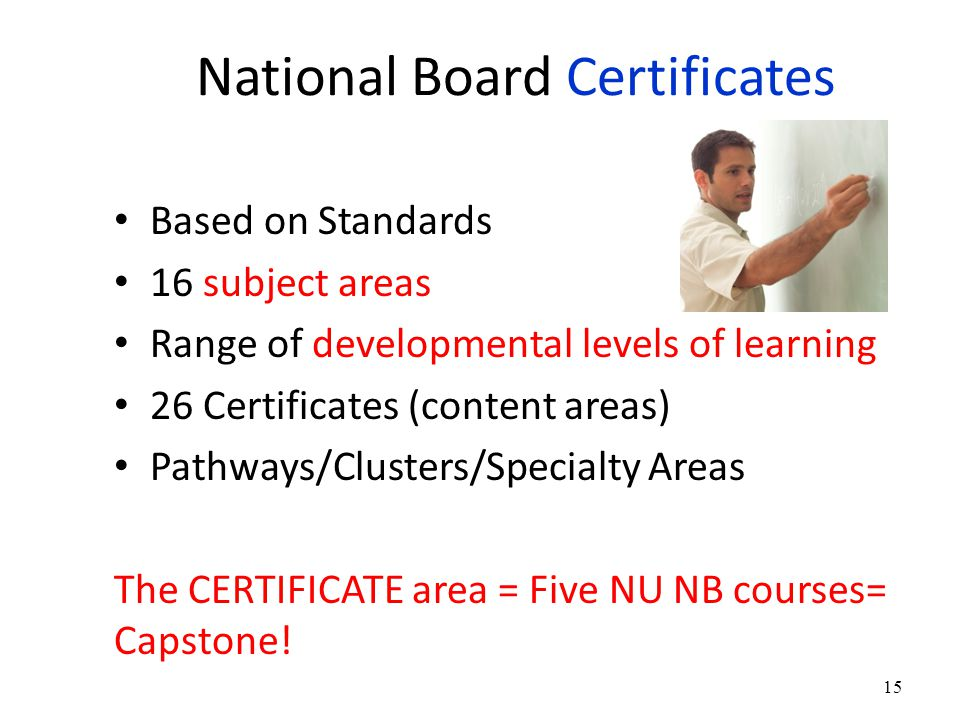 National Board Certificates Based on Standards 16 subject areas Range of developmental levels of learning 26 Certificates (content areas) Pathways/Clusters/Specialty Areas The CERTIFICATE area = Five NU NB courses= Capstone.
