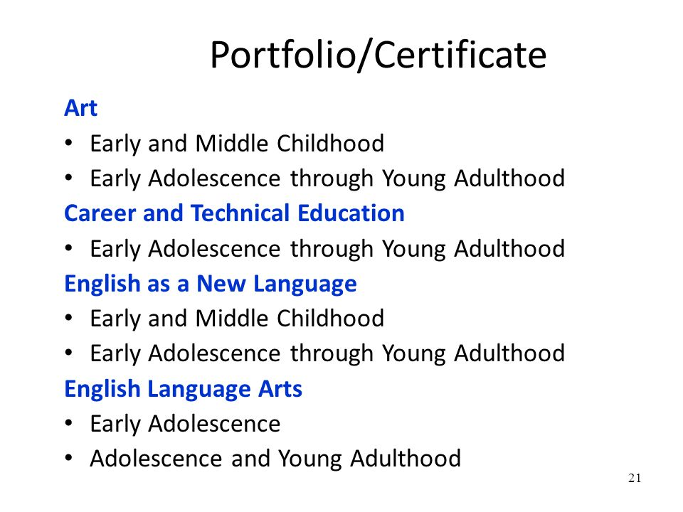 21 Portfolio/Certificate Art Early and Middle Childhood Early Adolescence through Young Adulthood Career and Technical Education Early Adolescence through Young Adulthood English as a New Language Early and Middle Childhood Early Adolescence through Young Adulthood English Language Arts Early Adolescence Adolescence and Young Adulthood