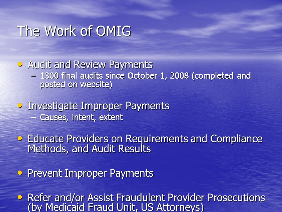 The Work of OMIG Audit and Review Payments Audit and Review Payments –1300 final audits since October 1, 2008 (completed and posted on website) Investigate Improper Payments Investigate Improper Payments –Causes, intent, extent Educate Providers on Requirements and Compliance Methods, and Audit Results Educate Providers on Requirements and Compliance Methods, and Audit Results Prevent Improper Payments Prevent Improper Payments Refer and/or Assist Fraudulent Provider Prosecutions (by Medicaid Fraud Unit, US Attorneys) Refer and/or Assist Fraudulent Provider Prosecutions (by Medicaid Fraud Unit, US Attorneys) Identify and Recover Payments Where Another Insuror is Responsible Identify and Recover Payments Where Another Insuror is Responsible