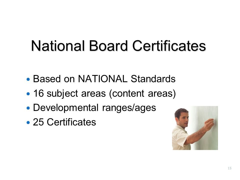 15 National Board Certificates Based on NATIONAL Standards 16 subject areas (content areas) Developmental ranges/ages 25 Certificates