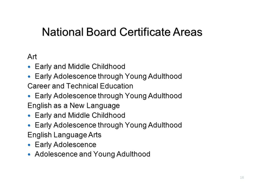 16 National Board Certificate Areas Art Early and Middle Childhood Early and Middle Childhood Early Adolescence through Young Adulthood Early Adolescence through Young Adulthood Career and Technical Education Early Adolescence through Young Adulthood Early Adolescence through Young Adulthood English as a New Language Early and Middle Childhood Early and Middle Childhood Early Adolescence through Young Adulthood Early Adolescence through Young Adulthood English Language Arts Early Adolescence Early Adolescence Adolescence and Young Adulthood Adolescence and Young Adulthood