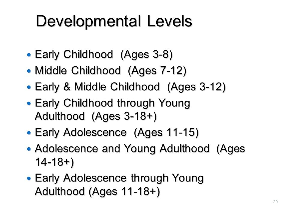 20 Developmental Levels Early Childhood (Ages 3-8) Early Childhood (Ages 3-8) Middle Childhood (Ages 7-12) Middle Childhood (Ages 7-12) Early & Middle Childhood (Ages 3-12) Early & Middle Childhood (Ages 3-12) Early Childhood through Young Adulthood (Ages 3-18+) Early Childhood through Young Adulthood (Ages 3-18+) Early Adolescence (Ages 11-15) Early Adolescence (Ages 11-15) Adolescence and Young Adulthood (Ages 14-18+) Adolescence and Young Adulthood (Ages 14-18+) Early Adolescence through Young Adulthood (Ages 11-18+) Early Adolescence through Young Adulthood (Ages 11-18+)
