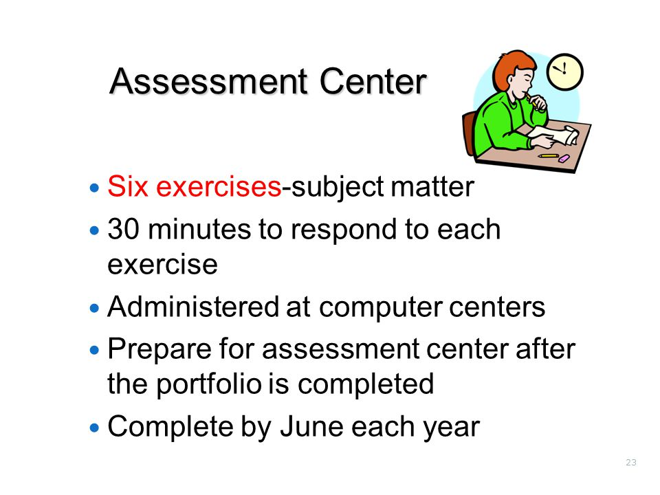 23 Assessment Center Six exercises-subject matter 30 minutes to respond to each exercise Administered at computer centers Prepare for assessment center after the portfolio is completed Complete by June each year