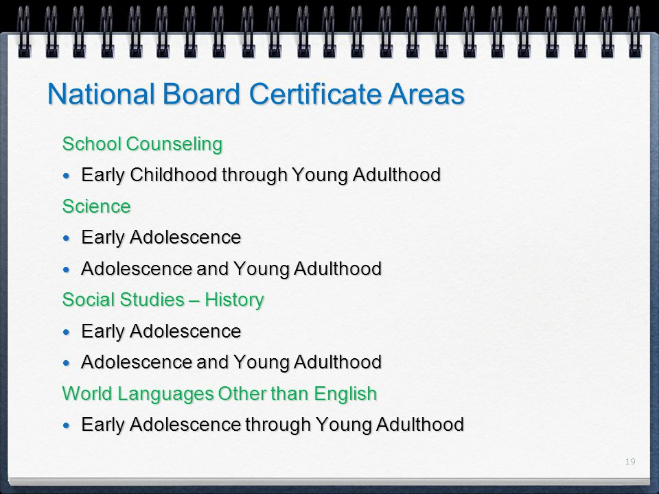 19 National Board Certificate Areas School Counseling Early Childhood through Young Adulthood Early Childhood through Young Adulthood Science Early Adolescence Early Adolescence Adolescence and Young Adulthood Adolescence and Young Adulthood Social Studies – History Early Adolescence Early Adolescence Adolescence and Young Adulthood Adolescence and Young Adulthood World Languages Other than English Early Adolescence through Young Adulthood Early Adolescence through Young Adulthood