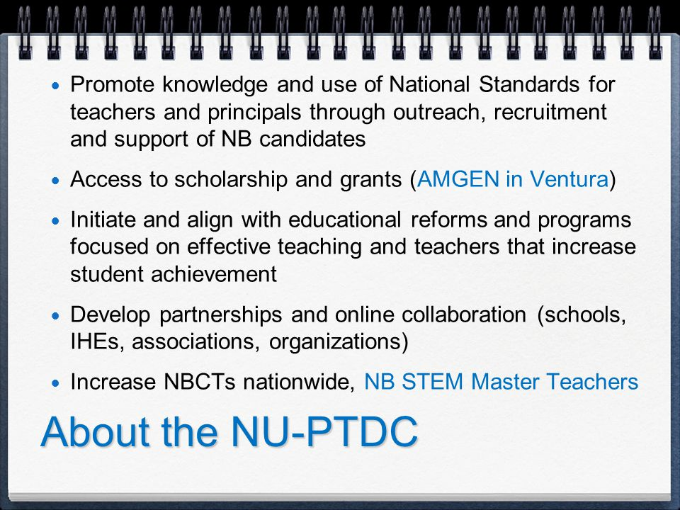 We Offer Options 1.Preparation for National Board Certification or Take One.