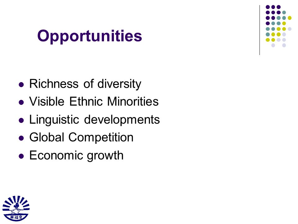 Opportunities Richness of diversity Visible Ethnic Minorities Linguistic developments Global Competition Economic growth