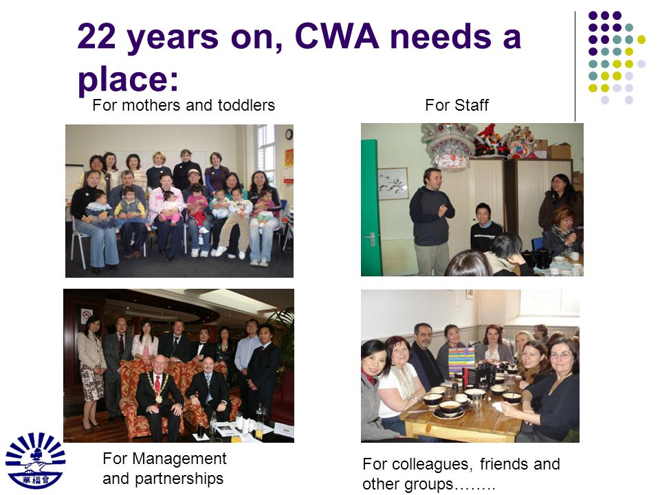 22 years on, CWA needs a place: For mothers and toddlersFor Staff For Management and partnerships For colleagues, friends and other groups……..