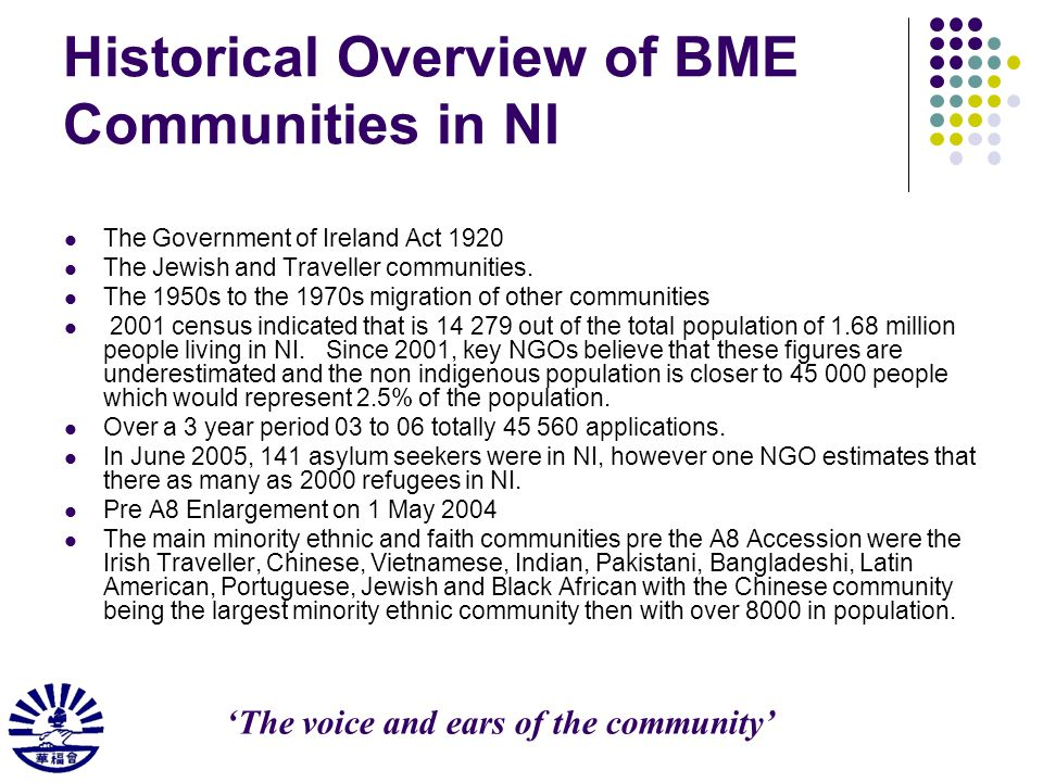 Historical Overview of BME Communities in NI The Government of Ireland Act 1920 The Jewish and Traveller communities.