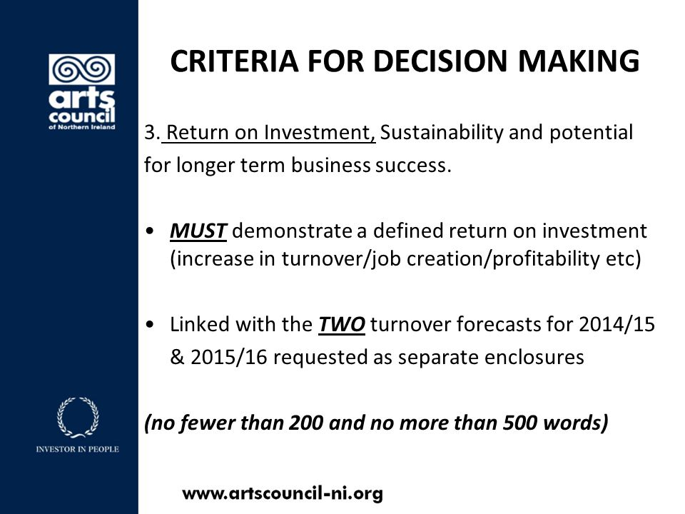 CRITERIA FOR DECISION MAKING 3.