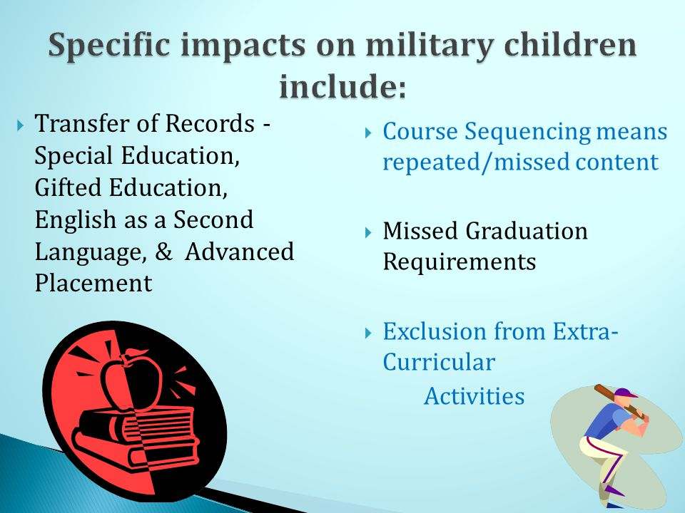  Transfer of Records - Special Education, Gifted Education, English as a Second Language, & Advanced Placement  Course Sequencing means repeated/missed content  Missed Graduation Requirements  Exclusion from Extra- Curricular Activities