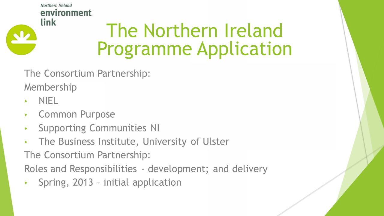 The Consortium Partnership: Membership NIEL Common Purpose Supporting Communities NI The Business Institute, University of Ulster The Consortium Partnership: Roles and Responsibilities - development; and delivery Spring, 2013 – initial application The Northern Ireland Programme Application