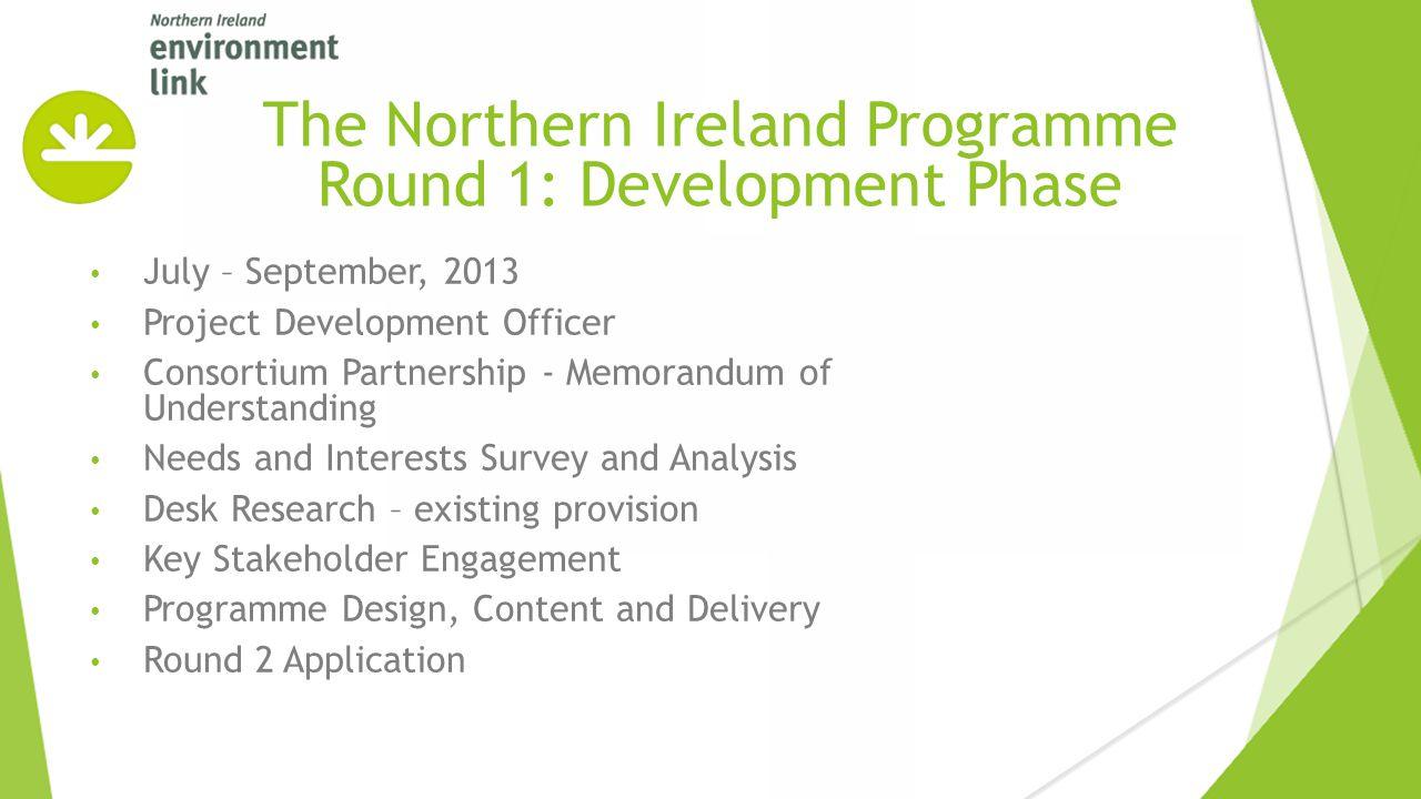 July – September, 2013 Project Development Officer Consortium Partnership - Memorandum of Understanding Needs and Interests Survey and Analysis Desk R