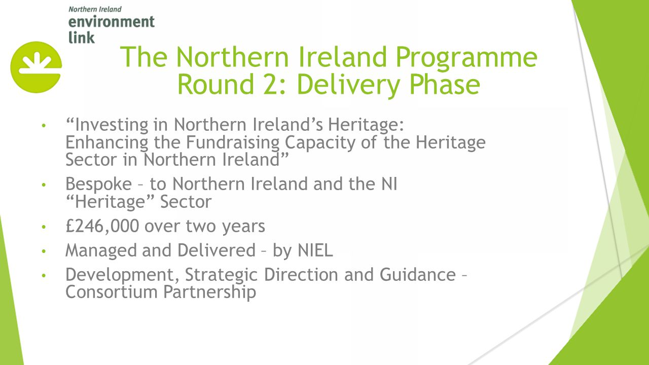 """""""Investing in Northern Ireland's Heritage: Enhancing the Fundraising Capacity of the Heritage Sector in Northern Ireland"""" Bespoke – to Northern Irelan"""