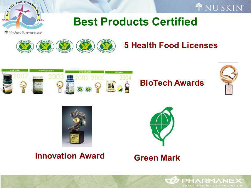 Best Products Certified 5 Health Food Licenses BioTech Awards Innovation Award Green Mark