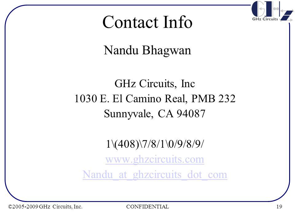 19CONFIDENTIAL©2005-2009 GHz Circuits, Inc. Contact Info Nandu Bhagwan GHz Circuits, Inc 1030 E. El Camino Real, PMB 232 Sunnyvale, CA 94087 1\(408)\7