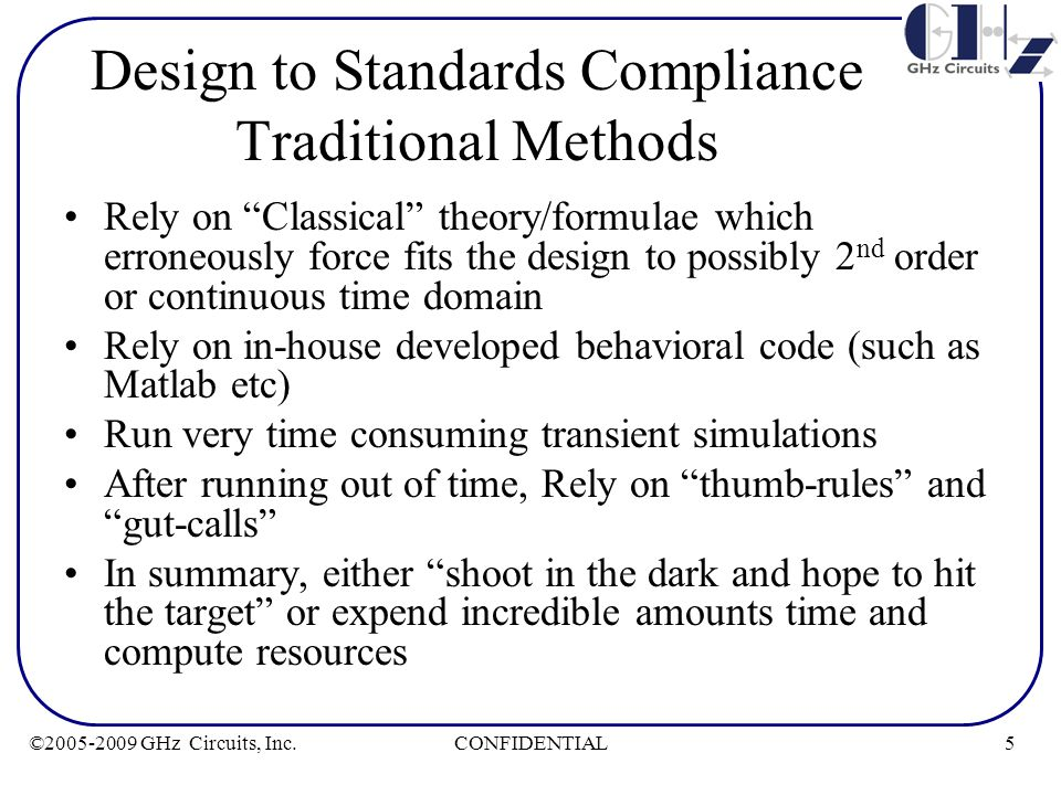 """5CONFIDENTIAL©2005-2009 GHz Circuits, Inc. Design to Standards Compliance Traditional Methods Rely on """"Classical"""" theory/formulae which erroneously fo"""