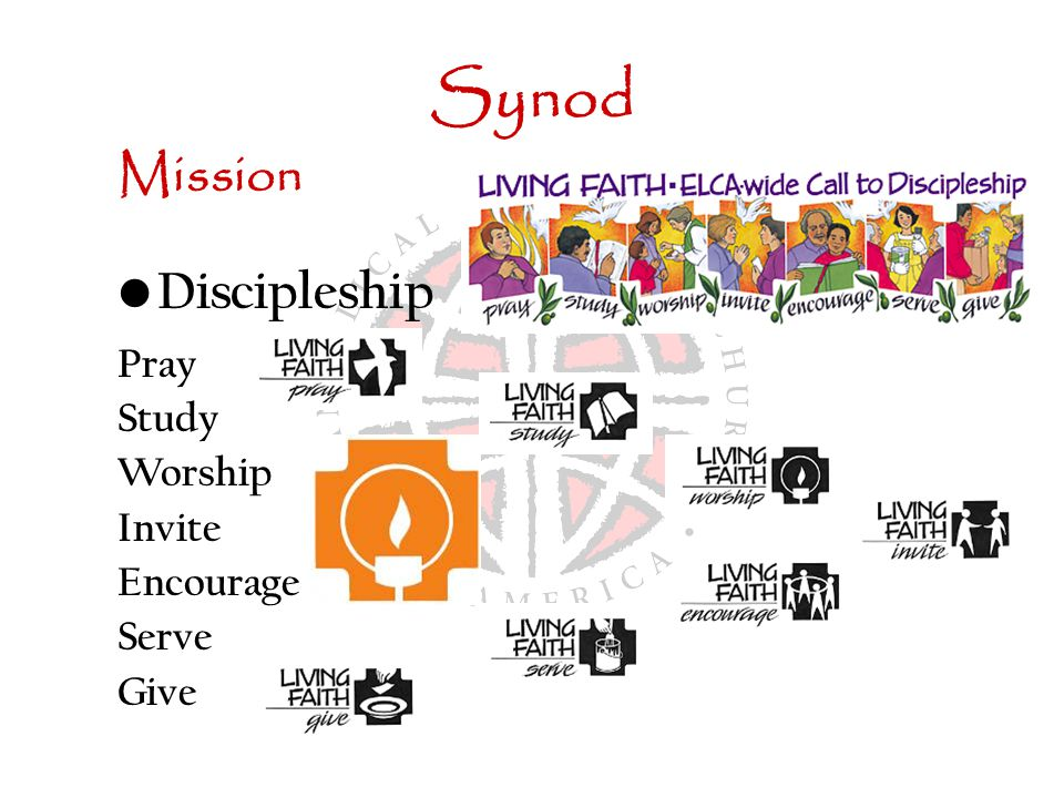 Synod Mission Discipleship Pray Study Worship Invite Encourage Serve Give