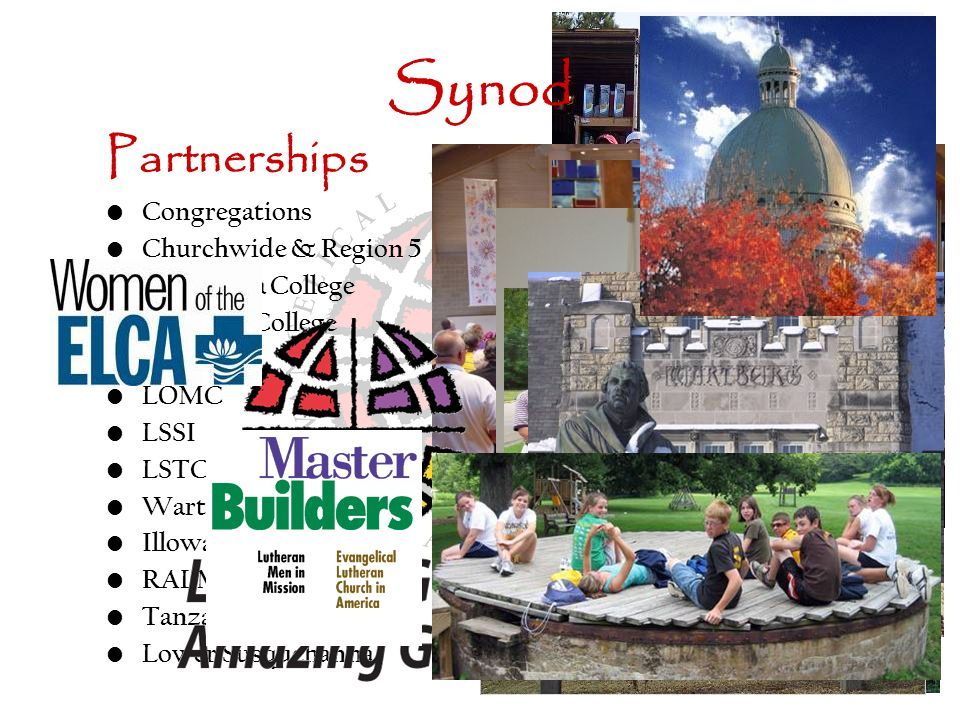 Synod Partnerships Congregations Churchwide & Region 5 Augustana College Carthage College LCM LOMC LSSI LSTC Wartburg Illowa RALM Tanzania & India Lower Susquehanna