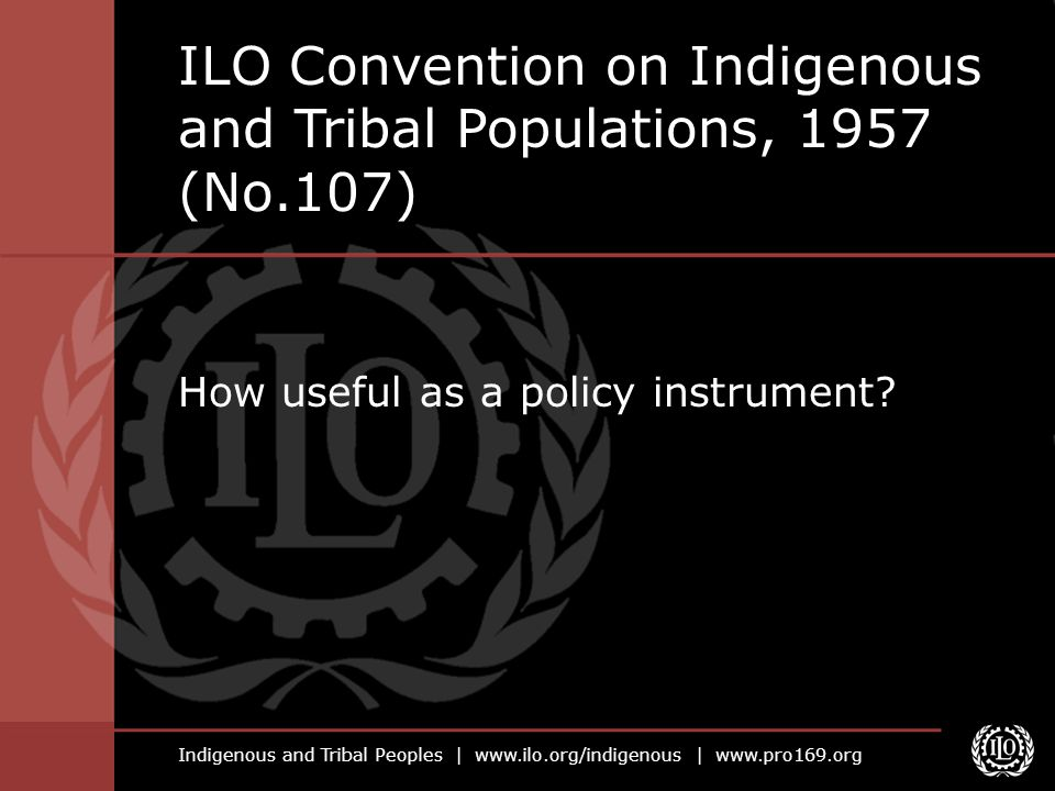 Indigenous and Tribal Peoples | www.ilo.org/indigenous | www.pro169.org How useful as a policy instrument? ILO Convention on Indigenous and Tribal Pop