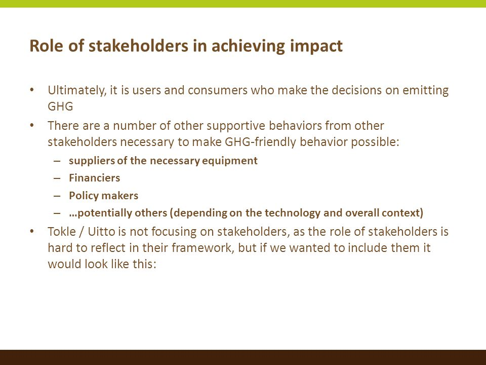 Role of stakeholders in achieving impact Ultimately, it is users and consumers who make the decisions on emitting GHG There are a number of other supportive behaviors from other stakeholders necessary to make GHG-friendly behavior possible: – suppliers of the necessary equipment – Financiers – Policy makers – …potentially others (depending on the technology and overall context) Tokle / Uitto is not focusing on stakeholders, as the role of stakeholders is hard to reflect in their framework, but if we wanted to include them it would look like this: