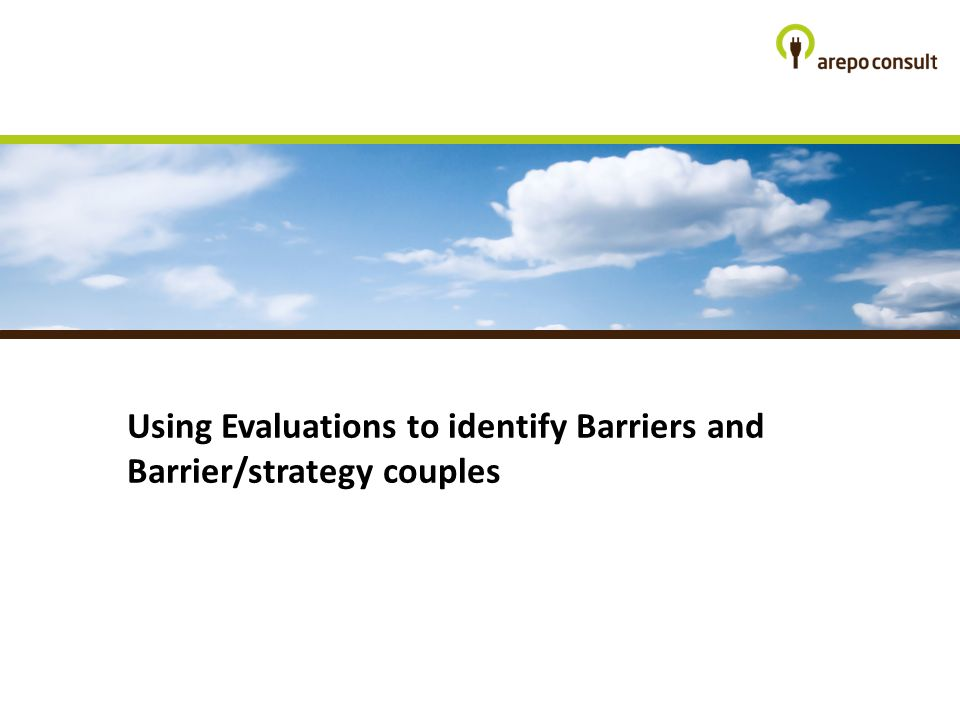 Using Evaluations to identify Barriers and Barrier/strategy couples