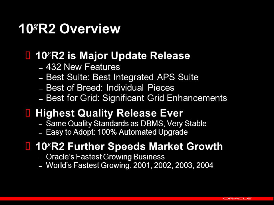 10 g R2 Overview  10 g R2 is Major Update Release – 432 New Features – Best Suite: Best Integrated APS Suite – Best of Breed: Individual Pieces – Best for Grid: Significant Grid Enhancements  Highest Quality Release Ever – Same Quality Standards as DBMS, Very Stable – Easy to Adopt: 100% Automated Upgrade  10 g R2 Further Speeds Market Growth – Oracle's Fastest Growing Business – World's Fastest Growing: 2001, 2002, 2003, 2004