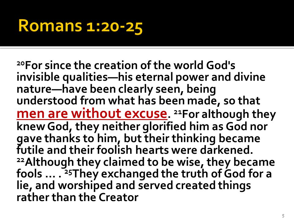 20 For since the creation of the world God's invisible qualities—his eternal power and divine nature—have been clearly seen, being understood from wha