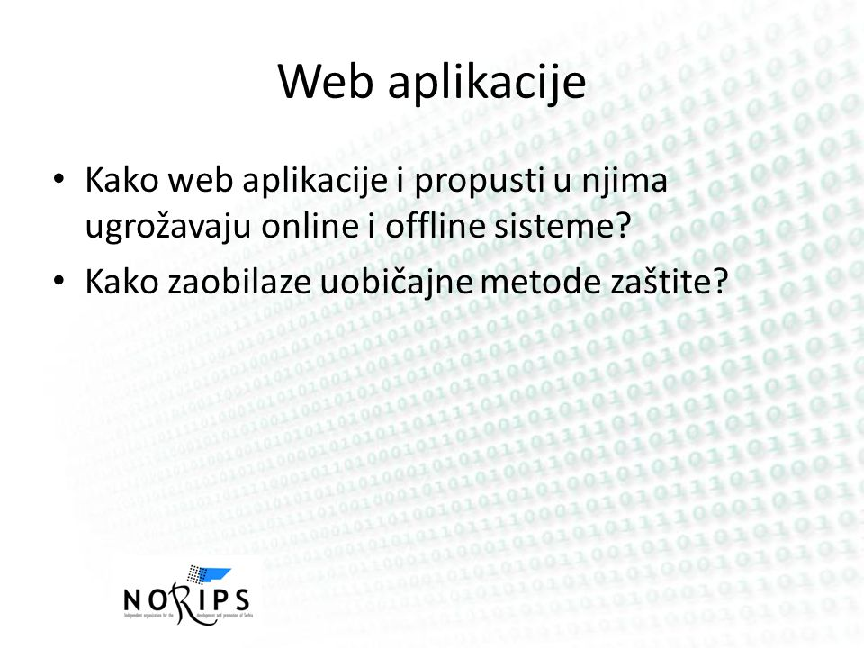 Web aplikacije / Top Threats A1: Injection A2: Cross-Site Scripting (XSS) A3: Broken Authentication and Session Management A4: Insecure Direct Object ReferencesA 5: Cross-Site Request Forgery (CSRF) A6: Security Misconfiguration A7: Insecure Cryptographic Storage A8: Failure to Restrict URL Access A9: Insufficient Transport Layer Protection A10: Unvalidated Redirects and Forwards