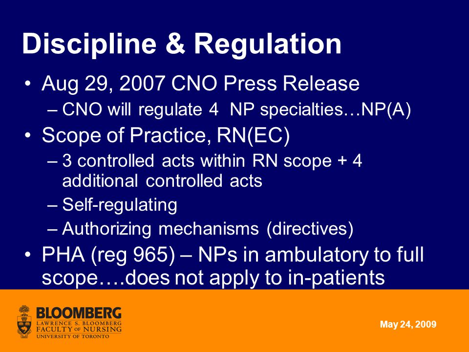 May 24, 2009 Discipline & Regulation Aug 29, 2007 CNO Press Release –CNO will regulate 4 NP specialties…NP(A) Scope of Practice, RN(EC) –3 controlled